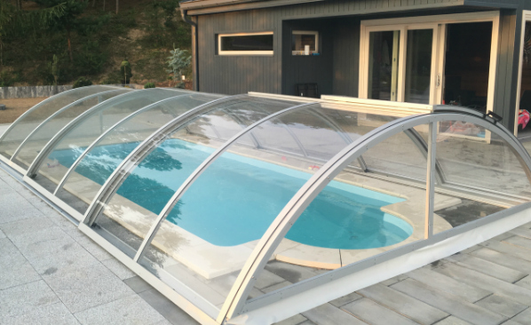 retractable pool cover. Retractable Pool Enclosure Cover